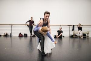Dangerous Liaisons choreographer Liam Scarlett rehearses with soloist Mia Heathcote