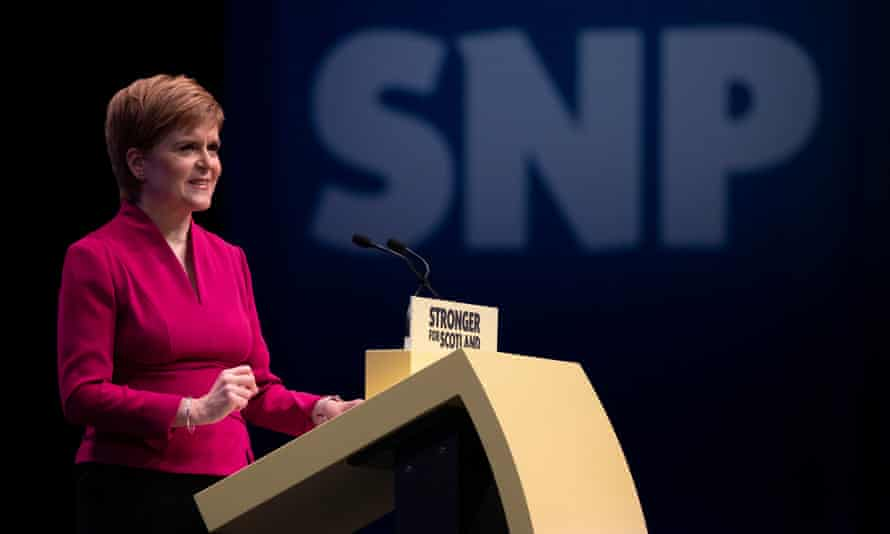 Nicola Sturgeon delivers her keynote speech to delegates during the SNP autumn conference at the Event Complex in Aberdeen