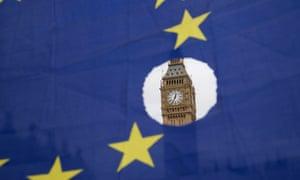An EU flag with a hole showing Big Ben.