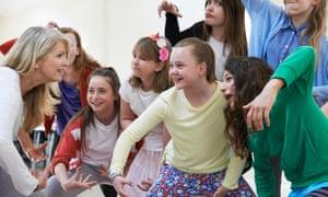 Teachers and children in a drama class