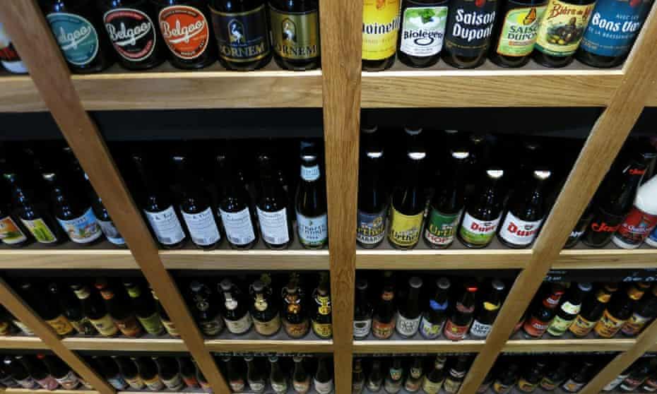 Shelves of bottled beer at Beer Emporium, Bristol, UK