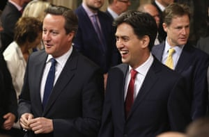 David Cameron and Ed Miliband at the state opening of parliament in 2014