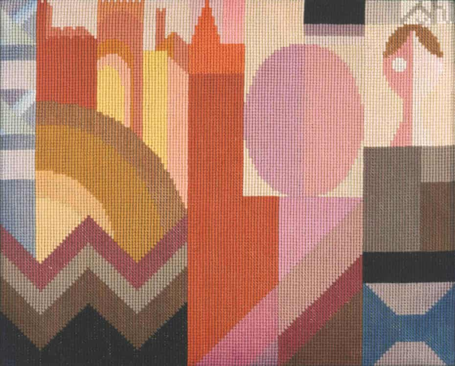 Embroidery, c1920 by Sophie Taeuber-Arp.