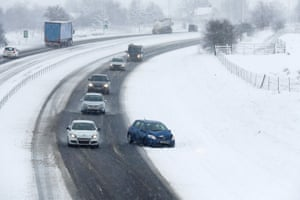 A car on the side of the A9, near the junction for Braco and Greenloaning