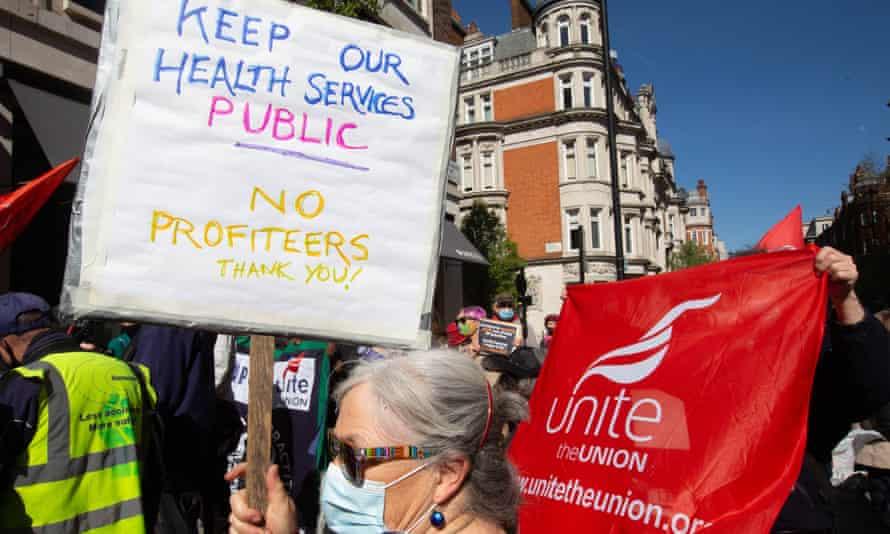 Protest against NHS privatisation