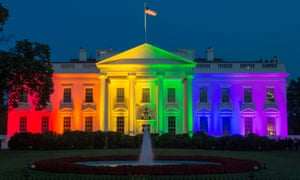 The North Portico of the White House is illuminated with rainbow colors in recognition of the supreme court decision regarding same-sex marriage, on 26 June 2015.