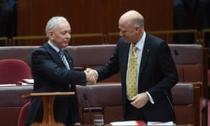 Family First senator Bob Day (L) and Liberal Democrats senator David Leyonhjelm