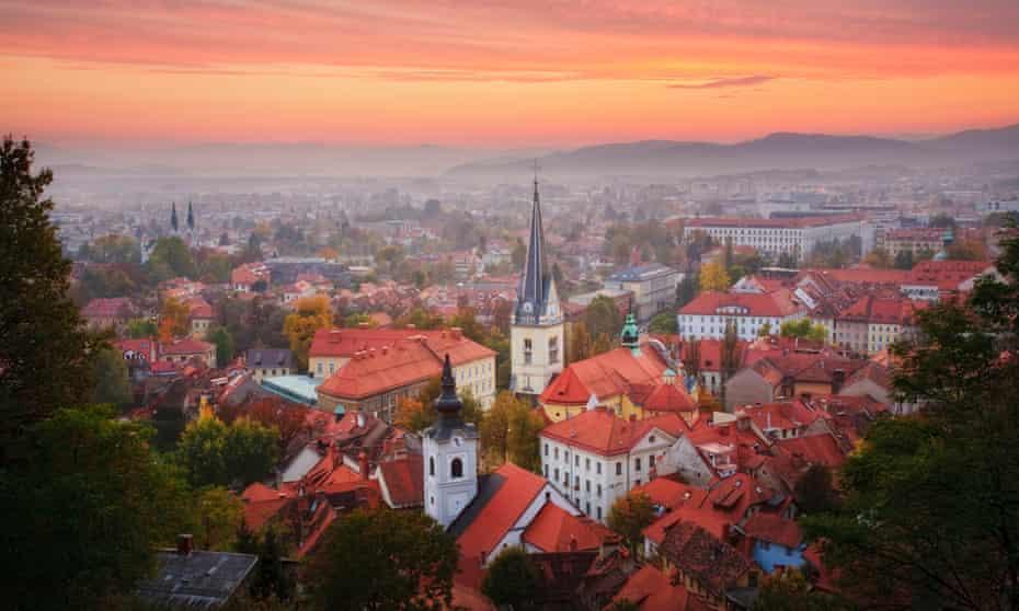 Sunset seen from Ljubljana Castle Hill, Slovenia