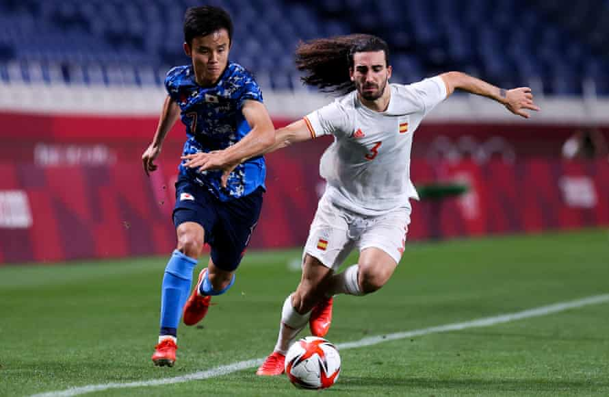 New Brighton signing Marc Cucurella (right) helped Spain to football silver at the Tokyo Olympics.