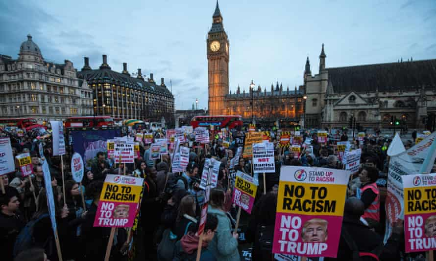 Anti-Trump protesters demonstrate in Parliament square as MPs debate the president's state visit.