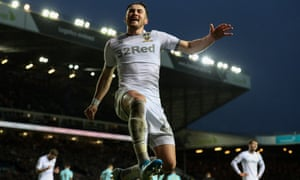 Jack Harrison celebrates scoring Leeds' second goal in their 2-0 Championship win against QPR at Elland Road