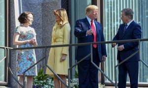 US President Donald Trump and First Lady Melania Trump pose with Finnish President Sauli Niinisto and his wife Jenni Haukio at the Presidential Palace in Helsinki