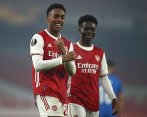 Joe Willock of Arsenal celebrates after he scores his team's fourth goal.