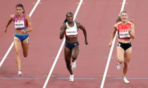 Great Britain's Dina Asher-Smith (centre) is beaten by Ajla Del Ponte of Switzerland for second place.