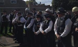 Police and bailiffs at Sweets Way