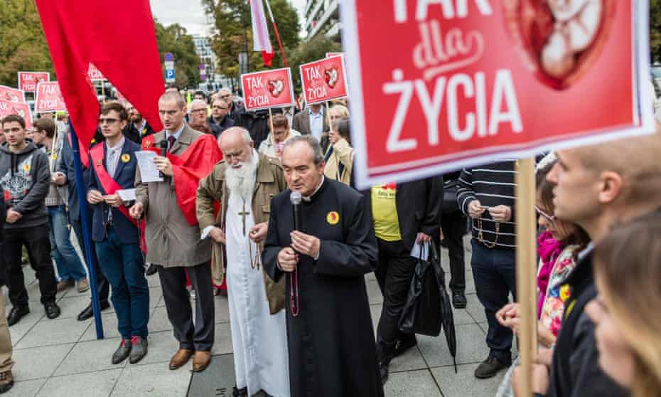 An anti-abortion demonstration in front of the Polish parliament in Warsaw.