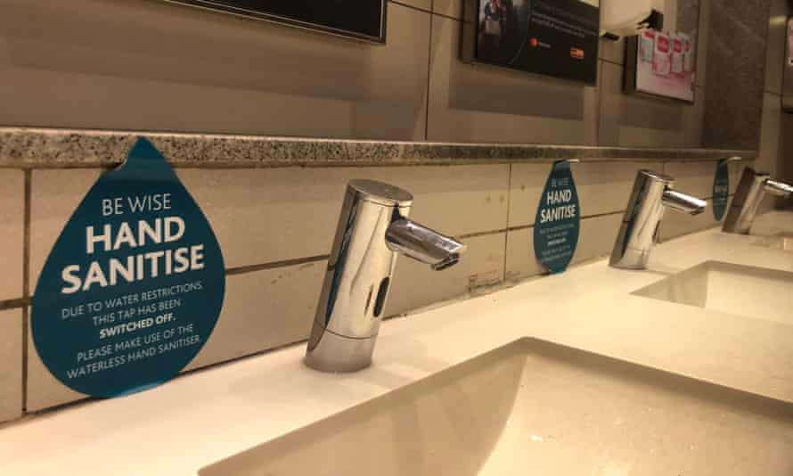 The taps in Cape Town airport were turned off and visitors were asked to use waterless hand sanitiser instead.