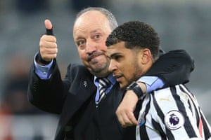 Newcastle United manager Rafael Benítez celebrates with DeAndre Yedlin following their 1-0 win over Watford at St James' Park.