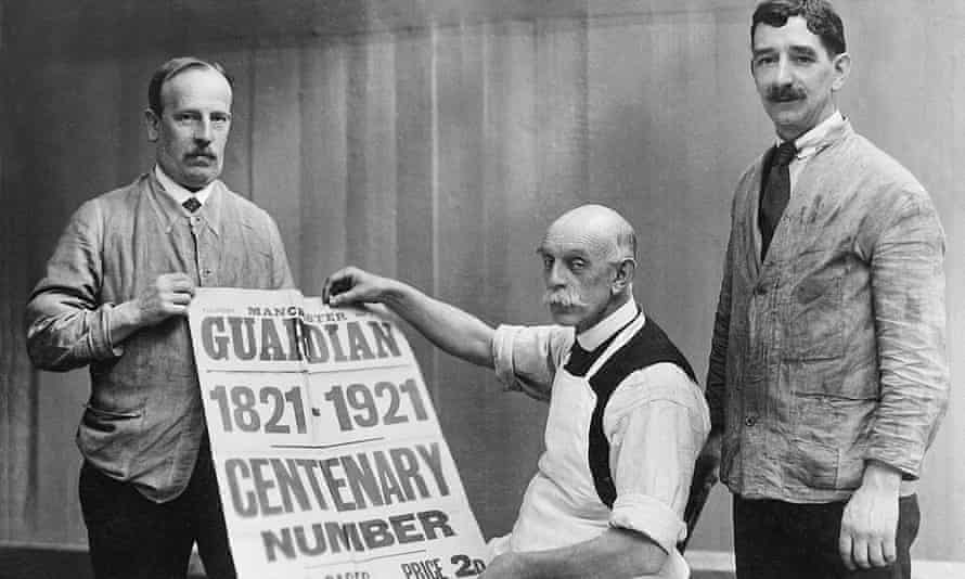 The Bill Room staff celebrating the centenary of the Manchester Guardian in 1921