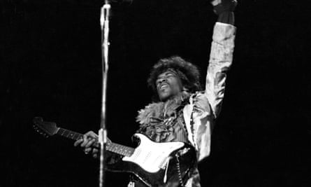 Jimi Hendrix performing at the Monterey pop festival, 18 June 1967.