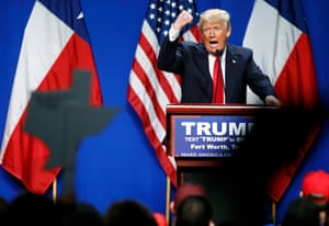 Donald Trump speaks at campaign event after receiving Christie endorsement in Forth Worth, Texas.