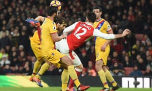 Olivier Giroud twists to score his superb opening goal for Arsenal against Crystal Palace