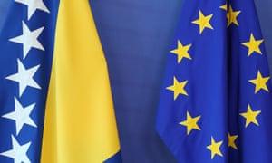 The flags of Bosnia and Herzegovina and the EU