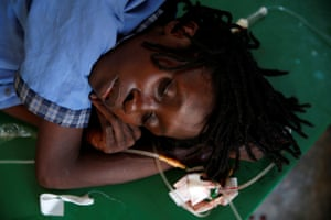 A woman being treated at the cholera treatment centre