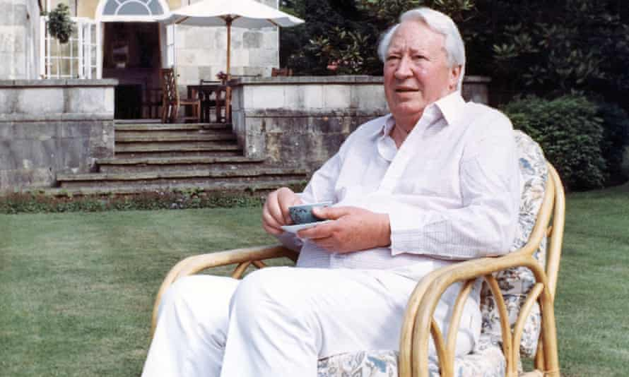 Edward Heath taking tea in his garden in Salisbury in 1989.