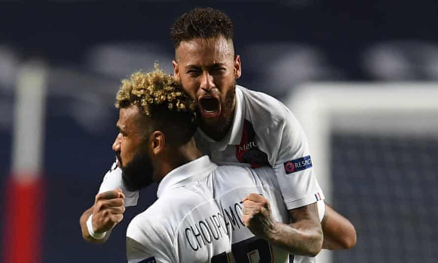 Neymar enjoys PSG's Champions League victory over Atalanta.