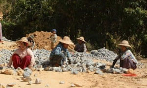 Women building roads in the Myanmar countryside.