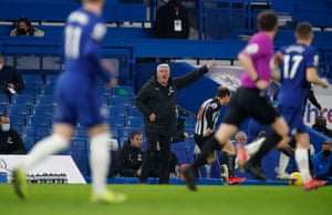 Newcastle United manager Steve Bruce shouts instructions to his players.