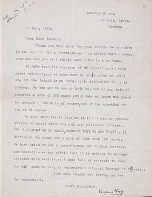 A rejection letter sent to James Joyce from Virginia Woolf