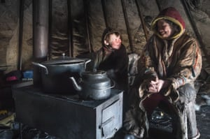 Nenets are seen inside their shelter at 150 km from the town of Salekhard,