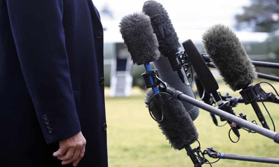 Donald Trump speaks to the media on the South Lawn of the White House, in February 2020.