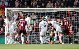Burnley's Ashley Barnes heads in an own goal.