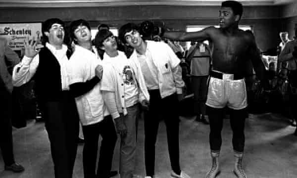 Ali with the Beatles at his training camp in Miami Beach, Florida, in 1964.