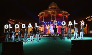 People in Delhi celebrate the launch of the global goals in September 2015