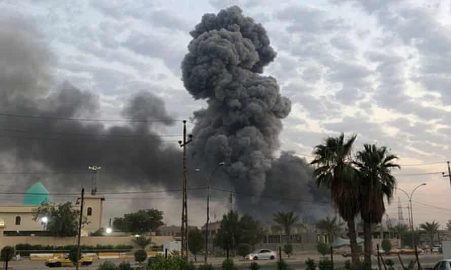 Smoke rises after an explosion at a military base near Baghdad last week.