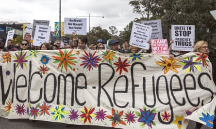 Refugee advocates march in Melbourne.