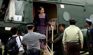 Aung San Suu Kyi arrives back from Maungdaw town to Sittwe Airport in Rakhine state during her one-day surprise visit to the region.