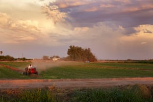 A farm worker ploughing a field, Blackwater, Arizona