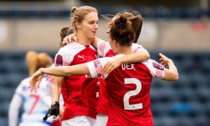 Vivianne Miedema scores and celebrates the opener as Arsenal beat Reading 3-0 at Adams Park.