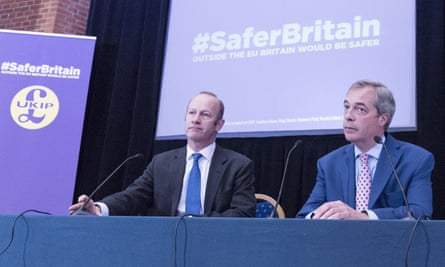 Ukip leadership candidate Henry Bolton next to former party leader Nigel Farage.