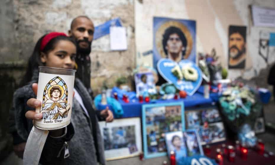 Tributes to Maradonna in Naples.