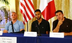 Spencer Stone, Anthony Sadler and Alek Skarlatos give a press conference at US ambassador residence.