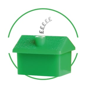Tiny green house cut-out inside green-rimmed circle