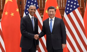 Chinese President Xi Jinping (R) shakes hands with US President Barack Obama (L) before their meeting at the West Lake State Guest House ahead of G20 Summit on September 3, 2016 in Hangzhou, China