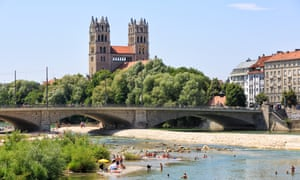 Hot summer day at the River Isar, Munich, Germany.