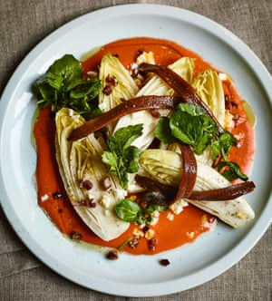 Chicory, anchovy and salmorejo salad.